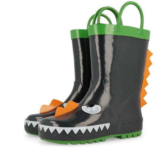 Botas de agua de niño en negro animado con cara de dinosaurio con nariz en…