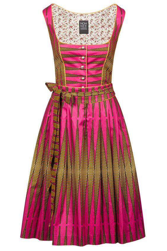 Noh Nee Dirndl Thelma - African Bavarian Dirndl with zigzag print in pink