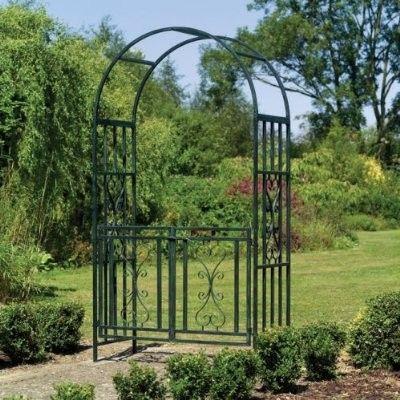 New Metal Steel Garden Arch W Gate Trellis Arbor Decor