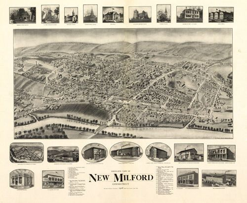 Historic Map of New Milford, CT - 1906 - for momma