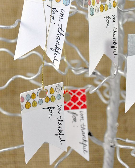 Create a thankful tree using washi - your Thanksgiving guests can each add what they are thankful for. What a pretty display!