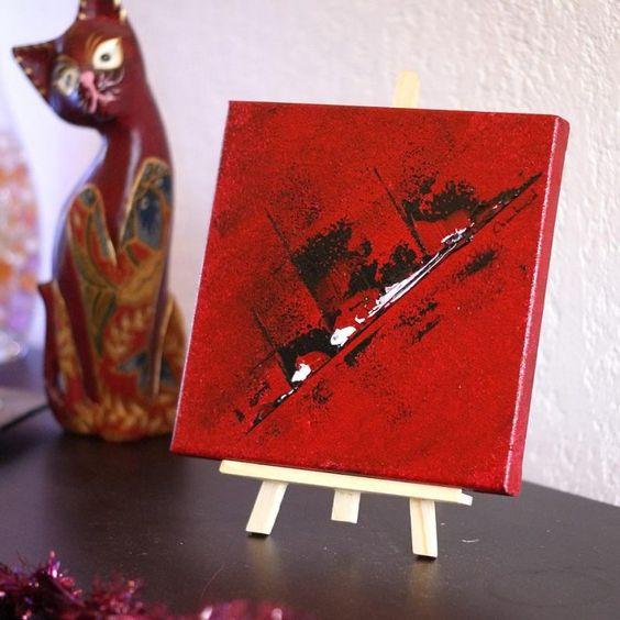 Mini tableau rougeet son chevalet de table.Petite peinture abstraite…