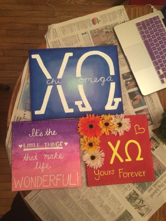 Chi Omega Canvas Crafts