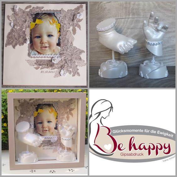 Handabdruck-Fußabdruck-Baby ein Traum mit Spitze und Perlen, Ivana Irmscher Be happy Gipsabdruck Fürth, www.be-happy-gipsabdruck.de