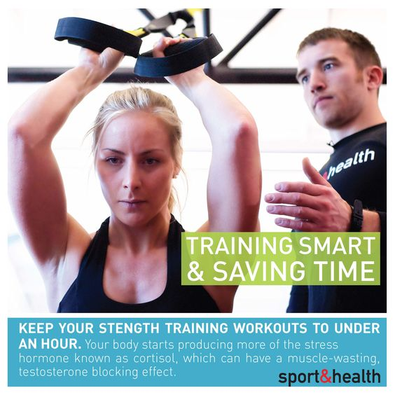 Keep cortisol (the stress hormone!) at bay by keeping your strength workouts under an hour. Find more fitness tips at http://www.sportandhealth.com or visit our Workout Routines Pinterest board!