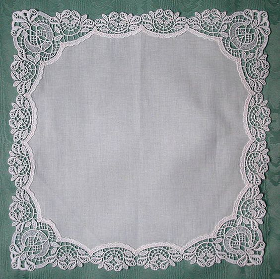 Beautiful Plauen Lace  Hankie Embroidered by InitialImpressions, $32.00: