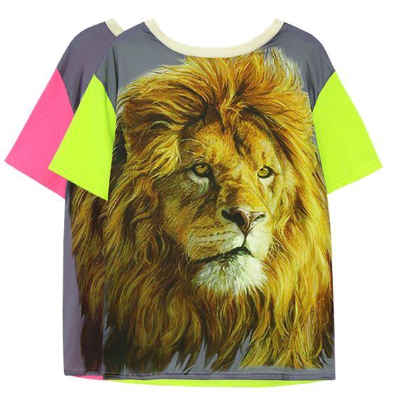 Sty nda cor neon bloco luta manga leão selvagem moda t-shirt de manga curta chiqueiro da decoração bloco de cor