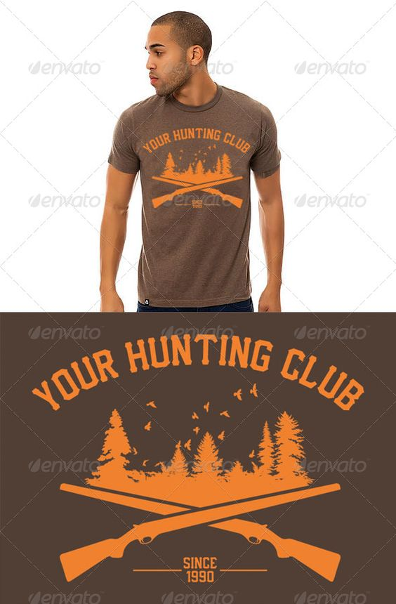 Custom Hunting Club T-Shirt Design Template Vector EPS, AI. Download here: http://graphicriver.net/item/custom-hunting-club-tshirt-design/6687037?ref=ksioks