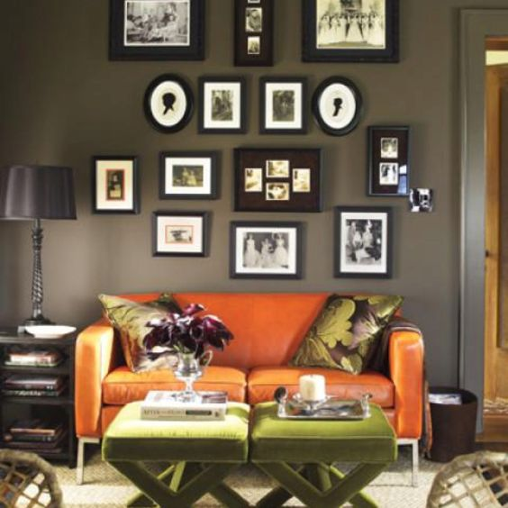 Orange Couch Brown Living Rooms And Couch On Pinterest