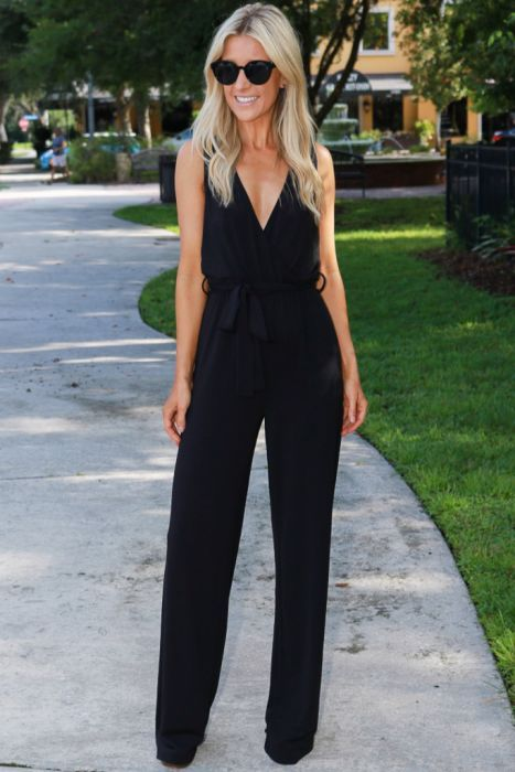 Wrap Jumpsuit Stylish Fall Outfits Black Romper Outfit Jumpsuit Outfit Casual