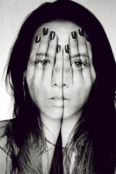 Paint   Unknown Source   double exposed   girl   hands   fingers   hiding   open   exposed   expression   art  