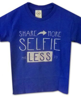 Selfie Less Shirt, Blue,   Youth Small