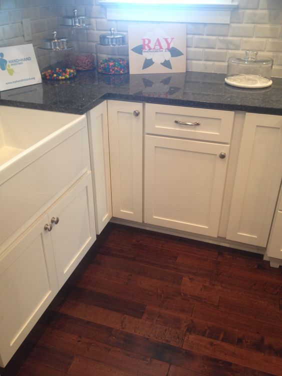 Blue pearl granite counter with white farmhouse sink and for White kitchen cabinets with blue pearl granite