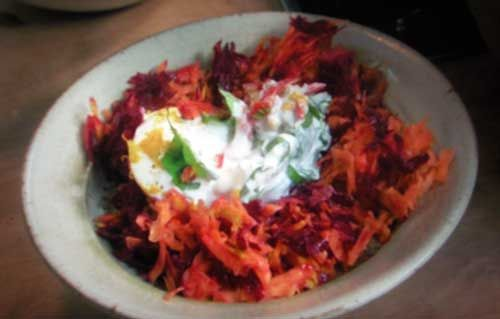 grated roots with mozzarella - nigel slater