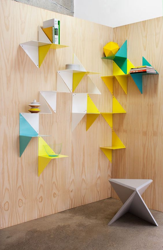 3D modular shelf — powder coated metallic shelf • MADE IN FRANCE  • 3D is a shelf that can be used in two different positions. One piece alone at an angle or on the wall will highlight its shape, but you can also put it together with one or several other pieces to make different colorful and graphic sculptures • design by ADONDE Javier Gutiérrez Carcache and Laurent Serin