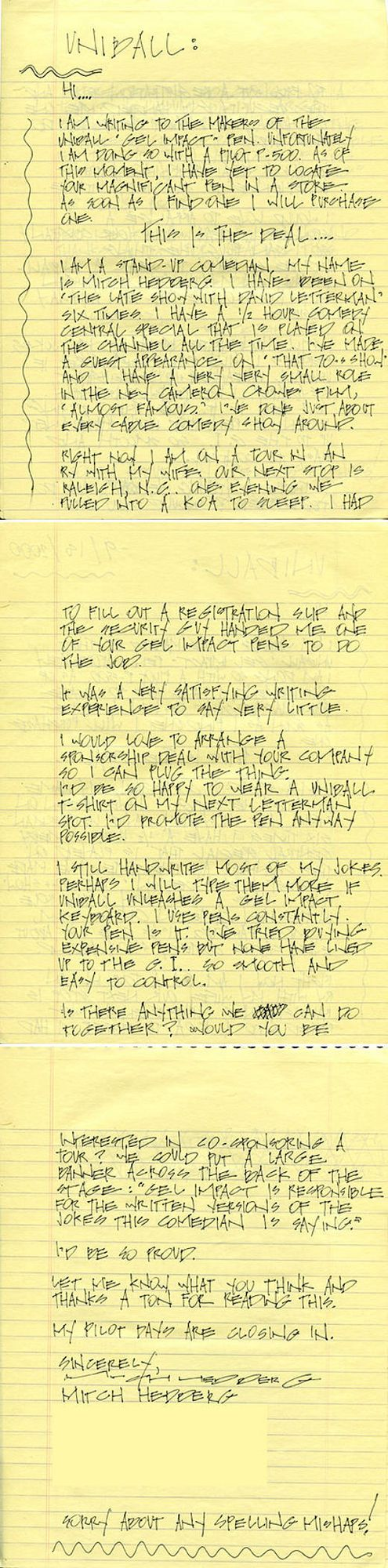 Mitch Hedberg's Letter To The Uni-Ball Pen Company