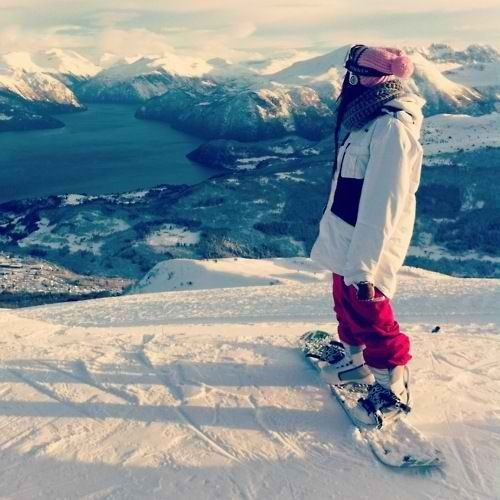 Snowboarding with a view.