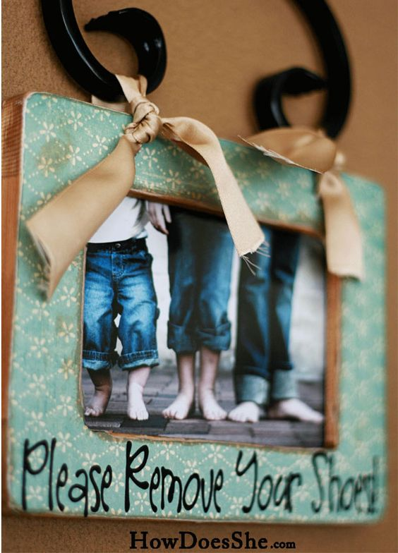 Remove your shoes frame... love the personalized pic