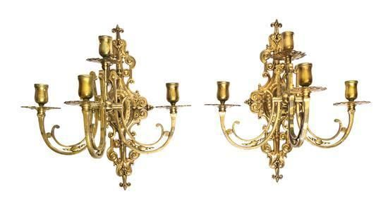 A Pair of Neoclassical Brass Four-Light Sconces Height 16 inches. - Estimate: $100 - $200
