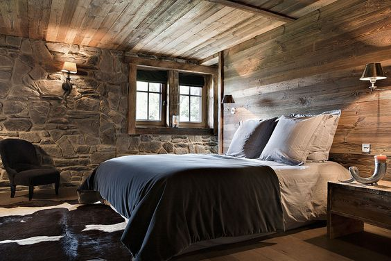 Lovely exposed stonework in this bedroom - a classic shape for a farmhouse as well.
