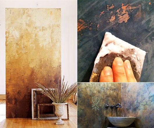 wand streichtechniken mit venetienischem Putz für kreative - wandgestaltung im badezimmer