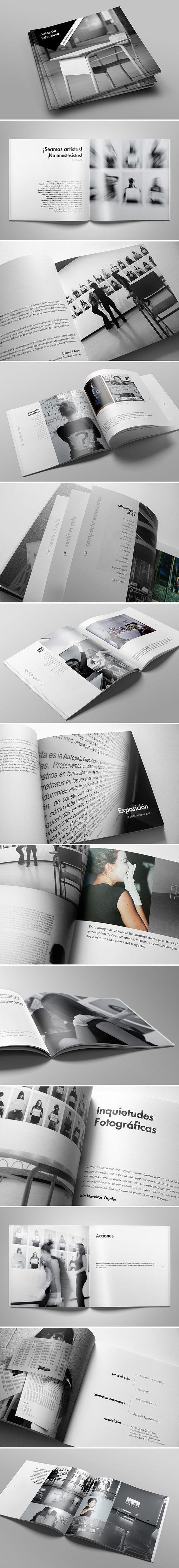 """Trabajo de diseño editorial para el catálogo de la exposición artística """"Autopsia Educativa"""", llevada a cabo por la Universidad de la Coruña y presentada en el 2010 en el MAC (Museo de Arte Contemporáneo Gas Natural Fenosa)."""