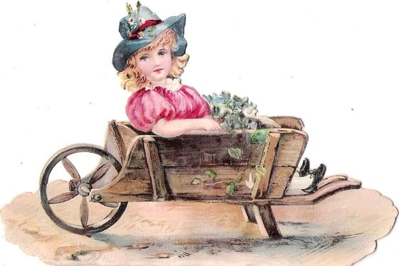 Oblaten Glanzbild scrap die cut chromo Kind  12,3cm child girl wheelbarrow Karre: