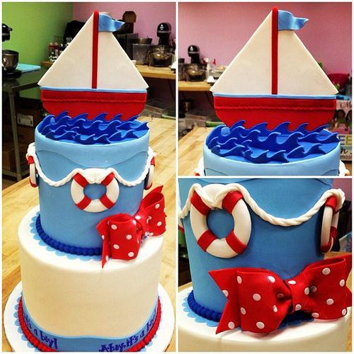 ahoy matey baby shower cake design