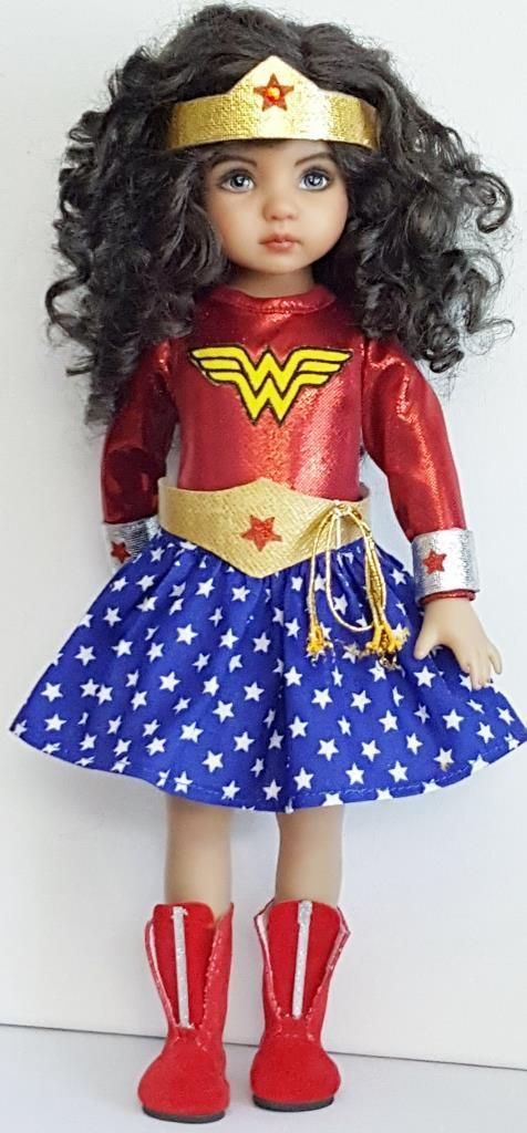 "Set 1 superheros w.woman set made for effner little darling 13"" dolls"