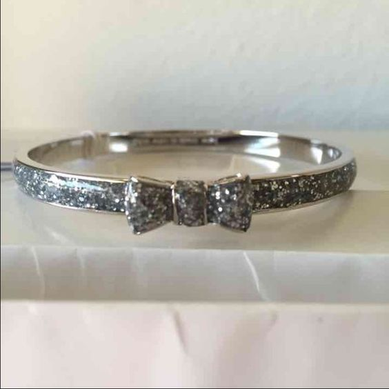 Kate Spade Glitter Bangle Authentic Kate Spade Silver glitter bangle. Brand new and comes with KS dust bag. kate spade Jewelry Bracelets