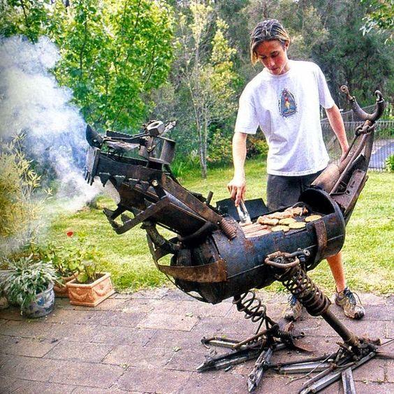 Unusual Bar B Ques - BBQ creative ironwork - dragon griffon griffin gargoyle call it what you may..