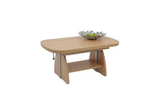 Couchtisch Wohnzimmertisch Tisch COLIN Hhenverstellbar Ausziehbar Buche Neu
