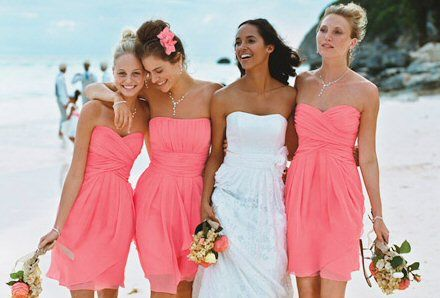 David 39 s bridal coral reef weddings pinterest hair for Coral bridesmaid dresses for beach wedding