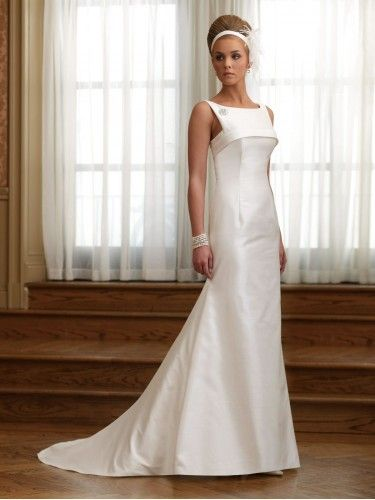 Shantung Bateau Neckline banded Bodice A-line Wedding Dress