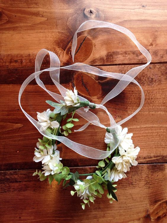 Beautiful White and Green Floral Crown. Bridal by kelloryjeannette