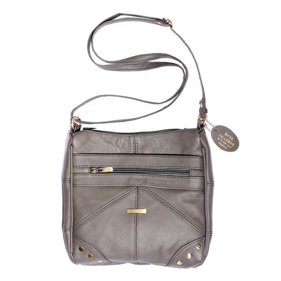 Grey leather bag.  http://www.essentialjewellers.com/grey-multi-zip-cow-hide-across-the-body-bag