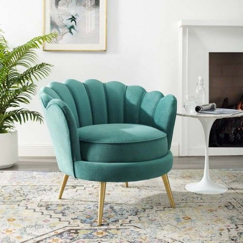 Teal Green Velvet Round Back Petals Gold Legs Armchair Accent