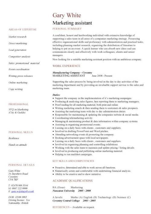 Marketing Assistant Cv Sample In 2020 Job Cv Web Design Jobs Sales Resume