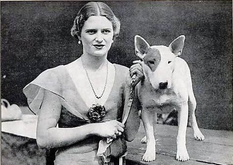 1932, Miss Jean Melville and bull terrier
