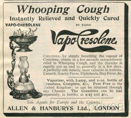1895 Ad. Allen & Hanburys Vapo Cresolene. Cough Asthma Relieving Remedy.
