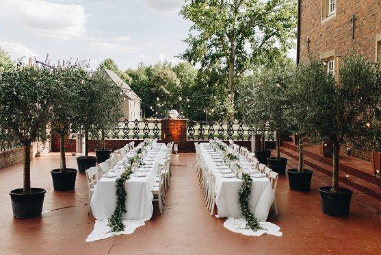 Olivenbaume Und Olivenzweige Als Tischdekoration Sommerliche Hochzeit Inspiration Und Ideen Outdoor Tischdekoration Hochzeit Hochzeitsplanung Tischdekoration
