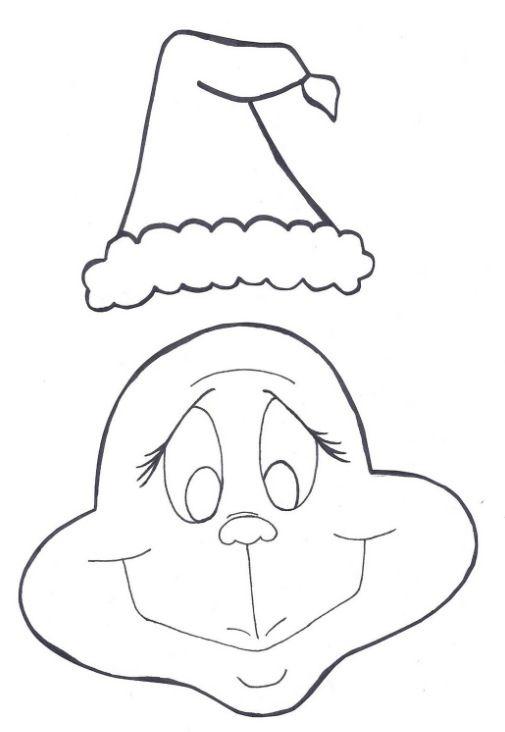 Grinch Face Santa Hat Outline