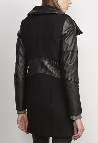 Danier Official Store, Abelle Wool Blend And Lamb Leather Coat ...