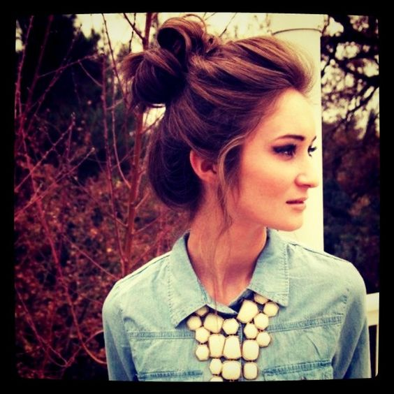 yay for jean shirts and big necklaces..oh and of course, a high bun :)
