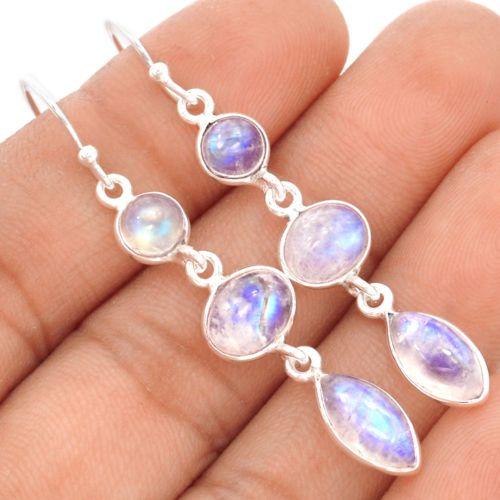 Rainbow-Moonstone-925-Sterling-Silver-Earrings-Jewelry-SE75104