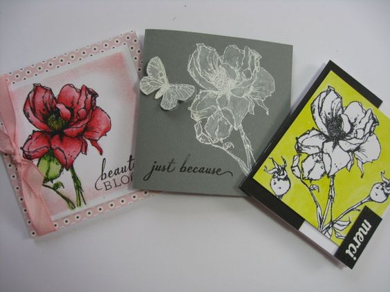 """handmade greeting cards ... Flourishes Challenge Make it Mini ... three 3X3"""" mini cards ... same stamp but very different looks ... one colored with Inktense pencils ... the second gray card with flower embossed in white and painted with white ink ... the third embossed in black on white with acid yellow painted in background ... graphic look ... like them all ..."""