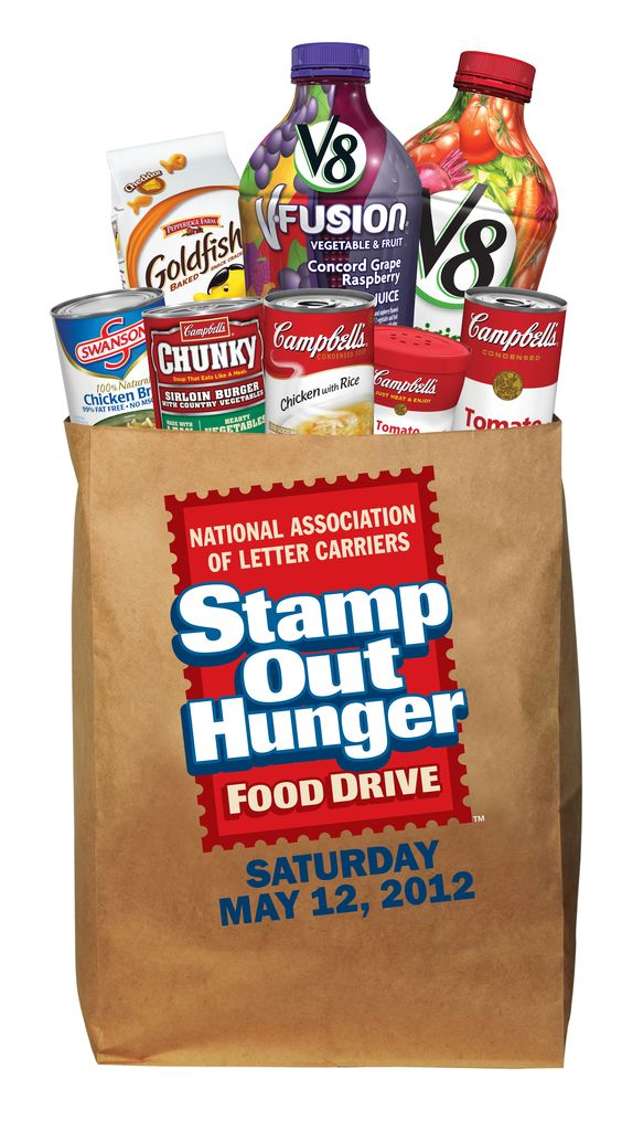 Join us for the biggest food drive of the year on May 12, 2012 by leaving a bag of nonperishable food by your mail box. Your letter carrier will deliver it to your local food bank.