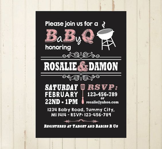 Baby Shower BBQ printable invitation boy baby baby shower couples chalkboard RebeccaDesigns22, $11.99