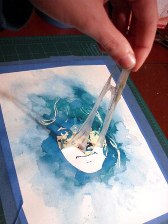 Tutorial to make a watercolor portrait! Use a digital photograph, a window and art masking fluid.