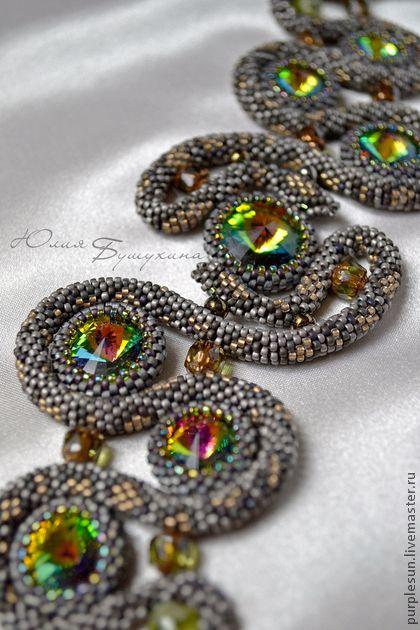 """Комплект украшений """"Змеиное гнездо"""" - браслет,черный,бронзовый,аметистовый"""